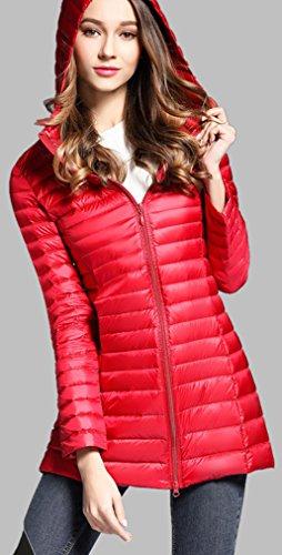 Down Elezay Light Coat Women's Red Winter Jacket Weight Hooded wIgRIqH6