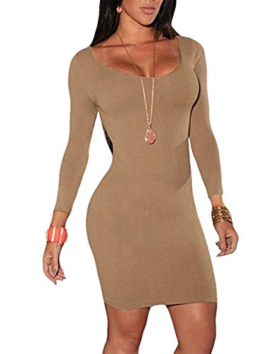 Women's Scoop Neck Long Sleeve Dress Pencil Bodycon Stretch Midi Party Dress Khaki L (Sexy Khaki Club Dress)