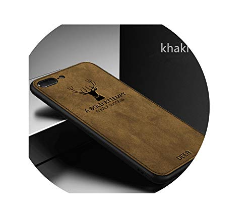 Retro Deer Cloth Texture Phone Case for iPhone 7 8 6 S 6S Plus X XS Max XR Ultra Thin Soft TPU Fabric Cover Leather Cases,Khaki,for iPhone 6 6S
