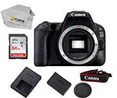 Canon EOS 200d Body Only (Rebel SL2) Includes Free SanDisk Ultra 64GB SDHC Class 10 Card (Lens Not Included)