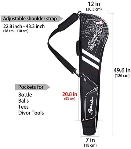 mytag Golf Club Carry Bag Embroidered Spider Design Durable Clubs Case Driving Range Mini Lightweight for Men Women Golfer Customization