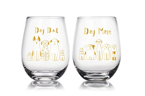 Dog Mum and Dog Dad 22 oz Stemless Wine Glasses Set of 2, novelty pet lovers gift, Christmas Gift, For Wife, Husband, Mom, Dad, Girlfriend, Boyfriend, Friend, Men, Women, Him or Her ...