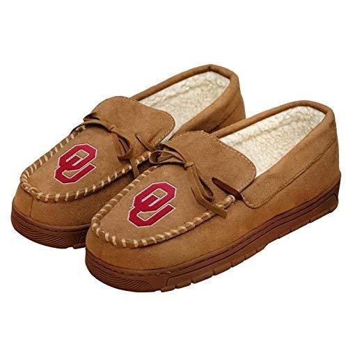 NCAA College Mens Team Logo Moccasin Slippers Shoe - Pick Team (Oklahoma Sooners, Large)