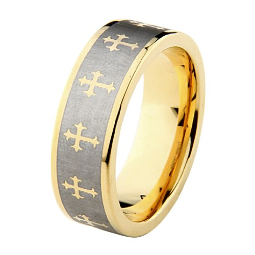 8mm Celtic design Cross Tungsten Carbide Gold Plated Comfort-Fit Wedding Band Ring (Size 5 to 15) - Size 6 ()