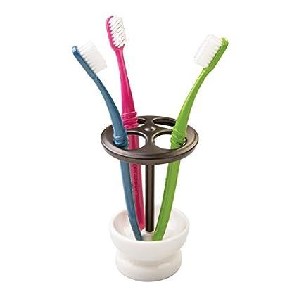 mDesign Soporte para Cepillo de Dientes de cerámica – Elegante Porta Cepillo de Dientes para 4