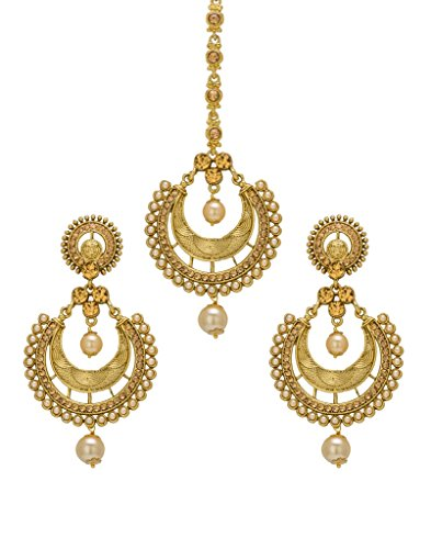 Bindhani Wedding Bridal Indian Pakistani Mang (Maang) Tikka (Tika) With Earrings Set For Women by Bindhani