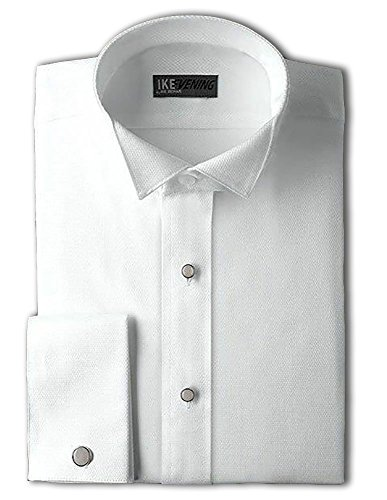 Men's 80's Cotton Pique Wing Collar Formal Shirt with French Cuffs by Ike Behar (15.5