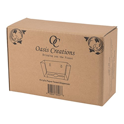 Oasis Creations Paper Towel Dispenser Holds 250 Paper Towels - Wall Mount and Countertop - Universal - Black