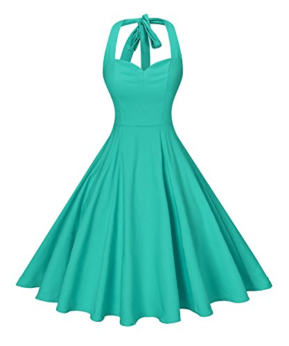V fashion Women's Rockabilly 50s Vintage Solid Color Halter Cocktail Swing Dress, Mint L