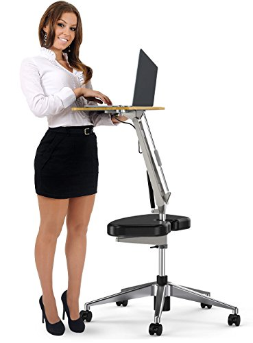 RoomyRoc Mobile Laptop Desk/Cart/Stand with Adjustable Tabletop and Footrest Computer Table (black) (Portable Cart Laptop)