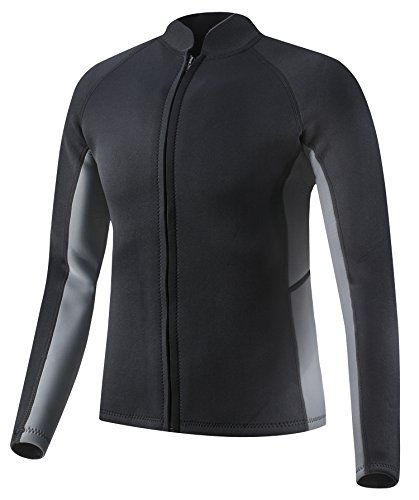 EYCE Dive & SAIL Mens 3mm Wetsuit Jacket Top Long Sleeve Neoprene Wetsuits (Black/Grey, Medium)