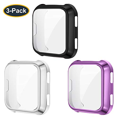 KIMILAR Screen Protector Case Cover Compatible with Fitbit Versa [3-Pack], All-Around Screen Protective Case Bumper Cover Saver Soft TPU Plated Case for Versa Smartwatch (Black+Silver+Purple)