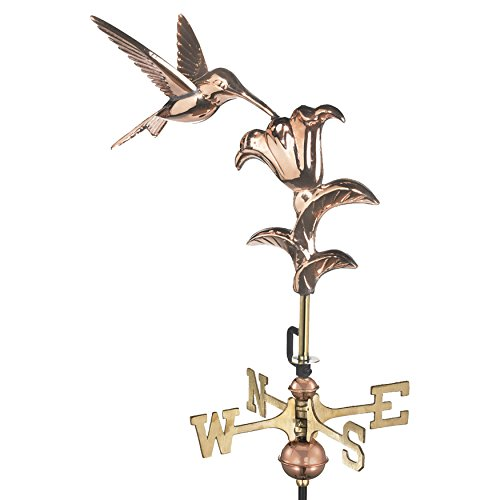 Good Directions 8807PG Hummingbird Garden Weathervane, Polished Copper with Garden Pole