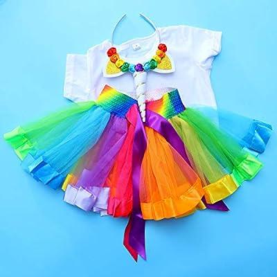 LIOOBO Juego de Vestuario de Unicornio Unicorn T Shirt Rainbow ...