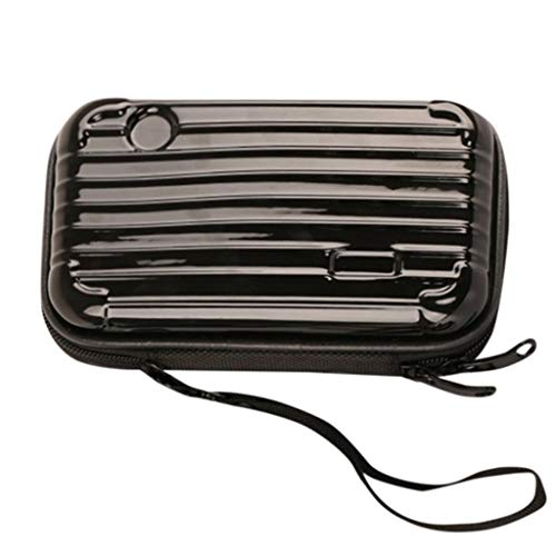 (Makeup Bag Pouch Portable Cosmetic Bag Small Hard Case,Suitcase cosmetic handbag waterproof/Crashproof The Mini Suitcase Cosmetic bag (6.89?.33?.76inch, black))
