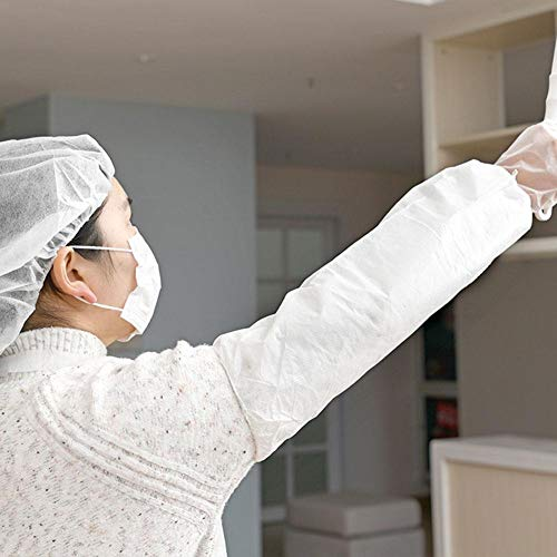 Disposable Apron Suit Set,10 Pack Adult Disposable Waterproof Dust-Proof Suit White Plastic Apron,Sleeve,Gloves,Mask,Hair Cap by cheerfullus (Image #4)