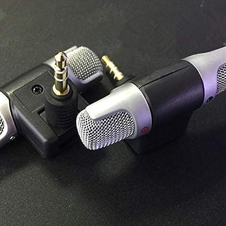 Kongqiabona Mini Jack Micr/ófono Micr/ófono est/éreo para Grabar tel/éfono m/óvil Micr/ófono de entrevista de Estudio para tel/éfono Inteligente versi/ón m/óvil