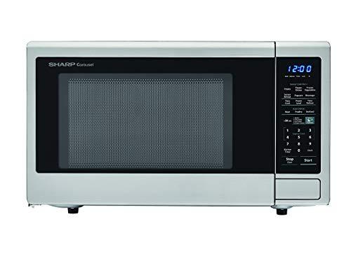 SHARP ZSMC1442CS Carousel 1.4 Cu. Ft. 1000W Countertop Microwave Oven with Orville Redenbacher's Popcorn Preset (ISTA 6…