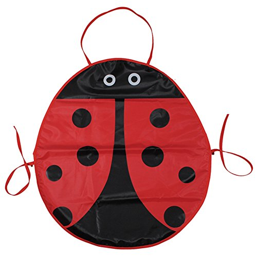 Cute Cartoon Baby Kids Children Waterproof Ladybug Drawing Apron Painting Cooking Kichen Apron Eat Drink Apron (Ladybug Apron)