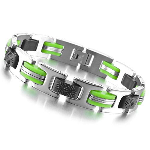MunkiMix Acier Inoxydable Caoutchouc Bracelet Lien Poignet Ton d'Argent Noir Lumière Vert Homme