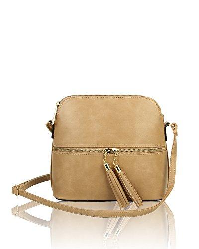 Messenger Foxlady Bag Zip Crossbody Shoulder Almond Tassel Small Women's nbsp;elegant rwAvrXf