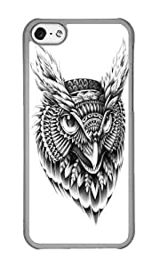 Apple Iphone 5C Case,WENJORS Uncommon Ornate Owl Head Hard Case Protective Shell Cell Phone Cover For Apple Iphone 5C - PC Transparent