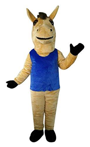 CostumeShine Brown Horse Mascot Costume in Blue Vest