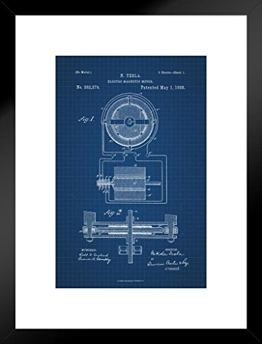 Poster Foundry Tesla Electro Magnetic Motor 1888 Official Patent Blueprint Matted Framed Wall Art Print 20x26 inch ()