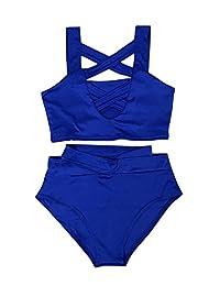 Women Fashion Summer Tankini Set Dual Front Criss Cross Tops High Waist Brief Bikini Swimsuit