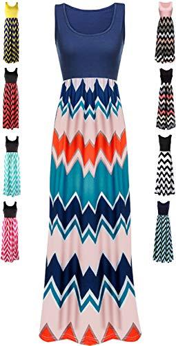 (LIYOHON Womens Summer Striped Print Loose Maxi Dress Contrast Sleeveless Tank Top Floral Print Long Maxi Dresses for Women 02 Navy Blue-XXL)