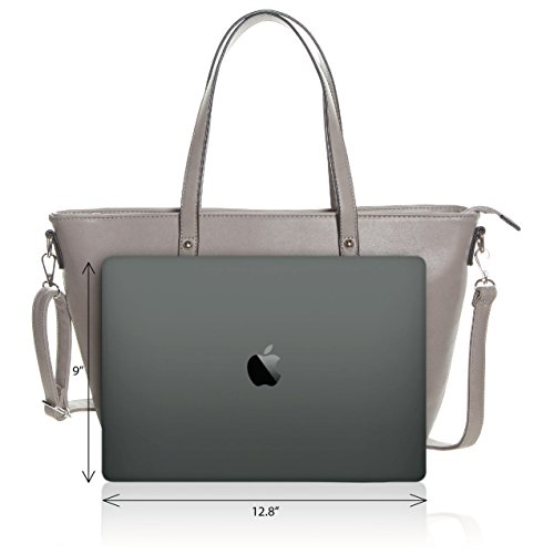 Faux Leather Tote Bag For Women - Convertible Crossbody Tote And Handbag - Top Handle Satchel Purse With Top Zipper Closure (PEWTER) by Pier 17 (Image #2)