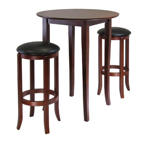 - Winsome Fiona 3-Piece Round High Pub Table Set in Antique Walnut Finish