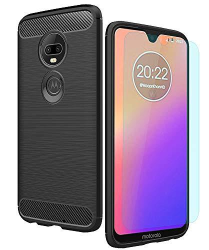 Moto G7 Case/Moto G7 Plus Case with HD Screen Protector Thinkart Frosted Shield Luxury Slim Design for Motorola Moto G7/G7 Plus Phone (Black)