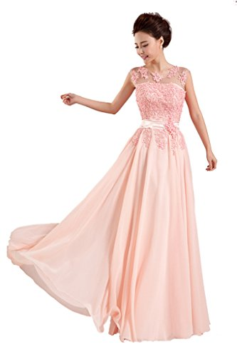 Rohmbridal Women's Scoop Neck Appliqued Lace Evening Dress Size 12 Pink