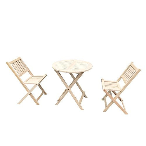 UHOM 3PCS Wooden Folding Chair and Table Outdoor Garden Wood Slat Seat Dining Set Deck Patio Bistro Furniture Review