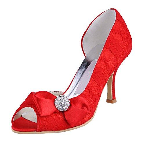 Kevin Fashion Ladies mz570Peep Toe alto talón con lazo de encaje novia boda zapatos sandalias Red