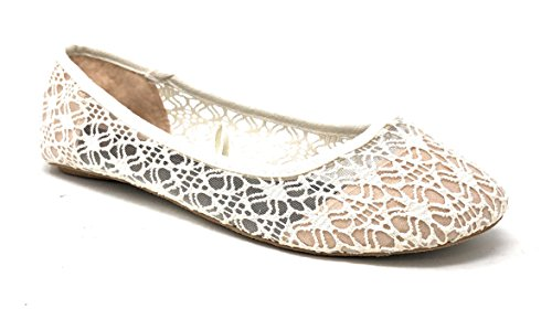 Charles Albert Women's Breathable Crochet Lace Ballet Flat (9, Ivory)