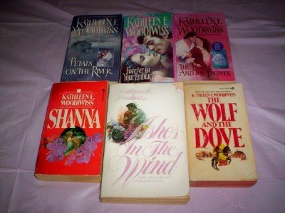 Kathleen E Woodiwiss - (Set of 6) - Not a Boxed Set (Ashes in the Wind - Forever in Your Embrace - The Wolf and the Dove - Shanna - The Flame and the Flower - Petals on the River)