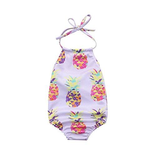 Viworld Baby Girl one Piece Swimsuit Pineapple Swimwear Backless Halter Sunsuit Summer Beachwear Outfit (Pineapple, 0-6 Months(70)) ()