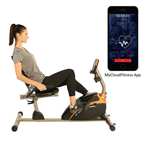 Flywheel Recumbent Exercise Bike - Exerpeutic 1500XL Bluetooth Smart Cloud Fitness High Capacity Recumbent Bike with Goal Setting and Free App, Gold, Black