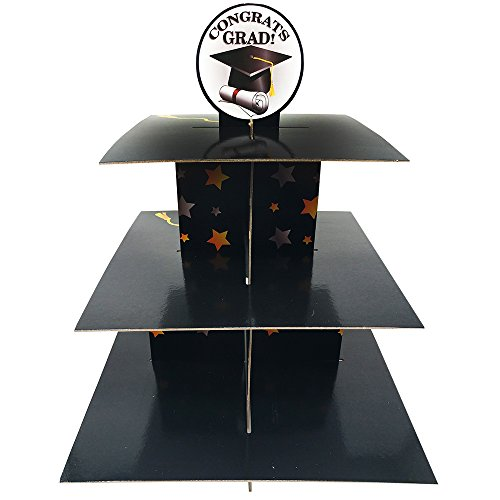 Graduation Cupcake Stand & Pick Kit, Graduation Party Supplies, Decorations, Cake Decorations, 3 Tier Cardboard