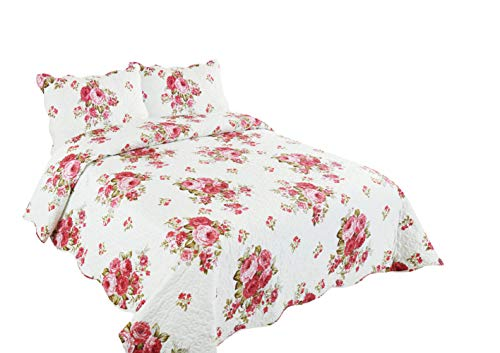 (Marina Decoration Rich Printed 3 Pieces Luxury Quilt Set with 2 Quilted Shams, Pink Peony Flower Pattern, Pink and White Color, King Size)