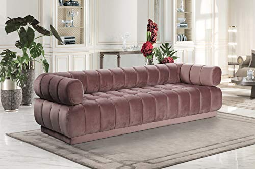 AN Quebec Sofa Velvet Upholstered Vertical Channel-Quilted Shelter Arm Tufted Design Modern Contemporary Blush ()
