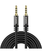 aceyoon Aux Cable TRRS Cable 16ft Long Aux Cord 5m Male to Male 4 Pole Stereo Audio Cable Headphone Cable 3.5mm Compatible for Car, Speakers, Tablets, PC, MP3 Players