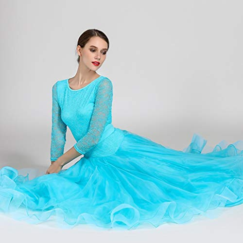 Jupe Moderne Danse Robes Les Standard pour de Femmes de Nationale de Tenue Salon Valse Danse Dentelle de BLUE de Danse Robe wXwxvqr8a