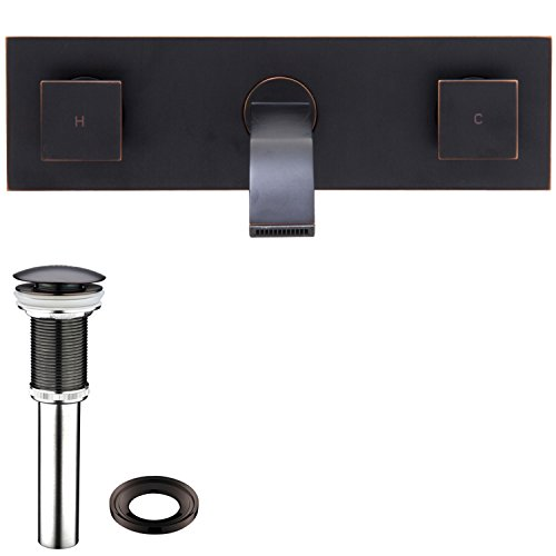 VIGO VG05002ARB2 Titus Two Handle Wall Mount Bathroom Faucet, Antique Rubbed Bronze Lavatory Faucet, Unique Plated 7 Layer Finish with Matching Pop Up (Lavatory Faucet Wall Mount Antique)