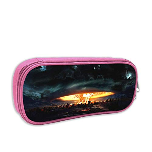 - Print Pencil Bag Cool City Fire Storm Portable Pencil Holders Pouch Stationery Organizer Case with Zipper