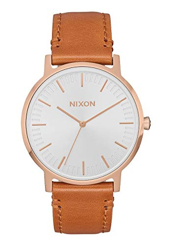 NIXON Porter Leather A1058 - Rose Gold/White/Saddle - 50m Water Resistant Men's Analog Classic Watch (40mm Watch Face, 20-18mm Leather Band)