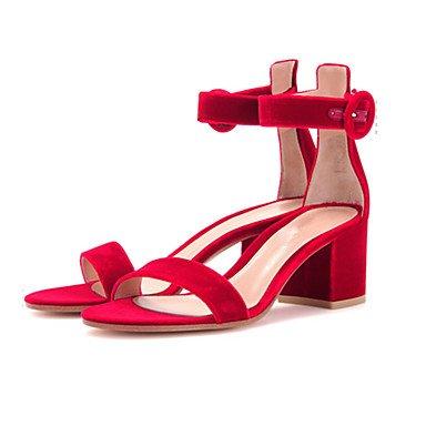 LvYuan Mujer-Tacón Robusto-Otro-Sandalias-Vestido Informal Fiesta y Noche-Vellón-Negro Marrón Rosa Rojo Gris Caqui Red