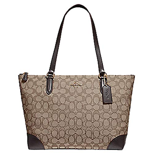 - Coach Signature Zip Tote Shoulder Handbag (IM/Khaki/Brown), Medium
